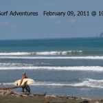 small pavones surf with surfer walking